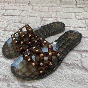 Vince Comuto tortoise gold beaded PVC sandals